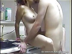 blonde, babe, slim, homemade, kitchen, big naturals, fuck from behind, gf melons, the gf network