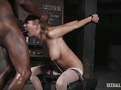 Bound milf gagged by big black and white cocks