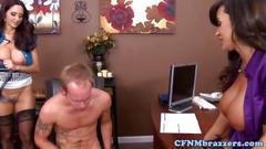 Busty femdom milfs seduce the new guy