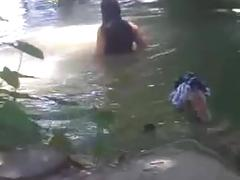 Bangla girl rina bathing in pond