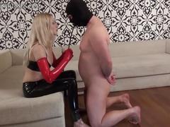 Latex anal fist and condom feet