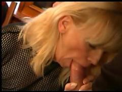 Blonde milf in stockings fucks
