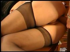 Blonde milf in stockings fucks