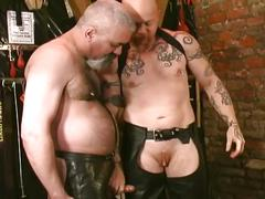Fervent fetish fucking with horny hairy daddies in leather