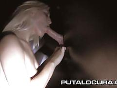 Puta locura busty amateur latina babe bukkake in glory hole