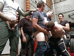 Tied up slave gets ass fucked in public
