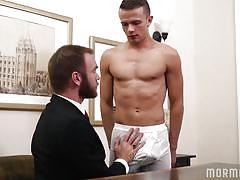 Eager mormon twink deepthroats cock