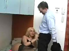 Blond latino shemale in lingerie fuck hard an old guy