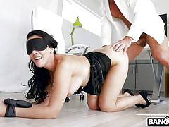 milf, big ass, big tits, rimjob, kissing, pussy licking, blindfolded, brunette, on table, tied hands, ass parade, bangbros network, rachel starr