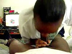 real, black, girl, gives, head, camera, homemade, blowjob