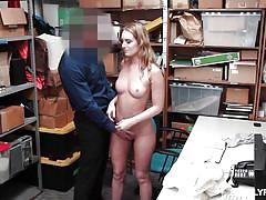 babe, blowjob, thief, caught stealing, from behind, ball sucking, shoplifter, shoplyfter, daisy stone
