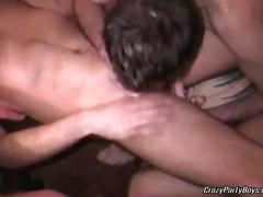Sexy horny amateur gay studs fucking in group-sex.