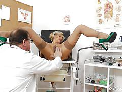 blonde, mature, high heels, exam, czech, doctor, nylons, old pussy exam, sava
