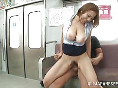 Japanese slut gets fucked on the train