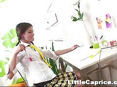 Schoolgirl caprice plays with her cunt