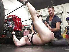 Hot gay stud getting pinned in a garage