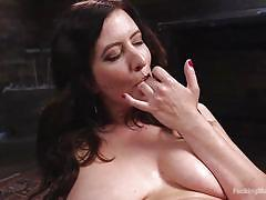 milf, hairy, solo, big boobs, fucking machine, dildo, vibrator, brunette, clit rubbing, fucking machines, kink, cherry torn