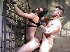 bondage, bound, blindfolded, bdsm, handjob, anal, electric shock, straightjacket, bound gods, kink men, trenton ducati, mason lear