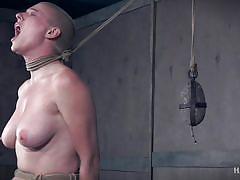 bdsm, hairy, big tits, babe, punishment, fucking machine, screaming, weight on tits, nipple clamps, rope bondage, hard tied, riley nixon