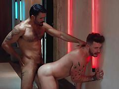 tattooed, huge cock, muscle, anal, bubble butt, jerk off, cock riding, reverse cowboy, ass licking, uncut, drill my hole, men.com, jean franko, josh moore