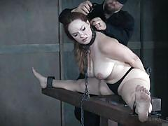 bdsm, big ass, big tits, redhead, bound, flexible, vibrator, fingering, chained, bbw, device bondage, infernal restraints, summer hart