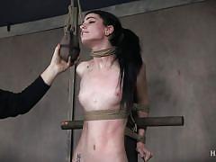 bdsm, babe, slim, fucking machine, blindfold, tattooed, hairy pussy, ball gag, nipple clamps, device bondage, hard tied, lydia black