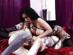 Screwing two beautiful brunettes on the same bed