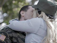 blonde, babe, military, army, tits sucking, erotica x, james deen, aj applegate