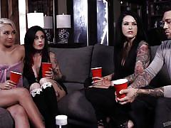 milf, blonde, foursome, pussy licking, brunette, fffm, tattooed, from behind, double blowjob, boobs sucking, burning angel, joanna angel, small hands, katrina jade, carmen caliente