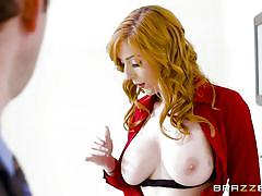 bathroom, big tits, babe, redhead, huge cock, hand job, blow job, sexy lingerie, at work, tit rubbing, getting caught, big tits at work, brazzers network, preston parker, lauren phillips
