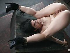 tattoo, bdsm, babe, high heels, squirt, vibrator, hairy pussy, funnel, pussy rubbing, rope bondage, hard tied, mia torro
