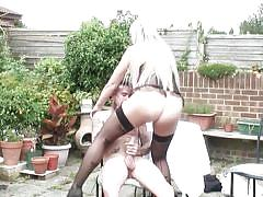 milf, blonde, high heels, outdoor, stockings, blowjob, big boobs, huge cock, corset, tattoos, cock ride, mature nl, lucy b.