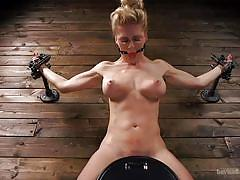 milf, blonde, bdsm, big tits, domination, tied up, gagged, upside down, dildo fuck, sex machine, metal bondage, device bondage, kink, cherie deville, the pope