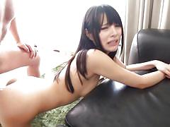 Pretty asian babe loves to fuck on the floor