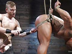 Strong muscular hunk was tied-up and electric shocked