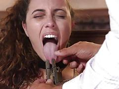 Roxanne rae is pinched and made to swallow cock