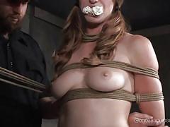 threesome, bdsm, babe, reality, mouth gagged, brown haired, rope bondage, sybian saddle, real time bondage, ashley lane