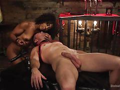 milf, femdom, bdsm, black, interracial, sex slave, mouth strapon, electric vibrator, divine bitches, kink, misty stone, lance hart