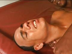 Hot dark black guy gives rimjob and gets blowjob before ass fucking