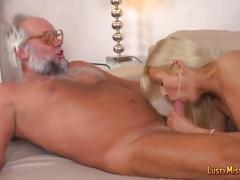 Nasty old perv fucks blonde hottie