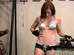 fetish, muscle, redhead, gym, workout, tits, shemuscle