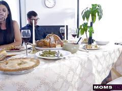 Mom fucks son & eats teen creampie for thanksgiving treat