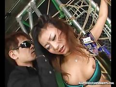Hardcore punishments bound asian gets her puss...