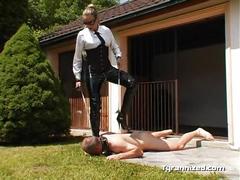 Dog training with mistress