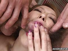 Sexy asian gangbanged while restrained slut watches the show