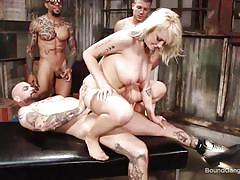 Blonde hottie takes cock in her pussy, ass and mouth