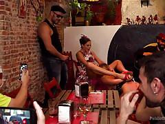 bdsm, babe, deepthroat, humiliation, pussy licking, public sex, watching, sex slave, tied hands, public disgrace, kink, tina kay, steve holmes, antonio ross, selvaggia