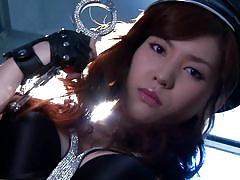 Cosplay cop is fucked against the wall