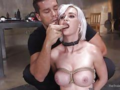 Astrid bound in ropes and tortured with a machine