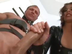 Evil mistress milks her slave dry